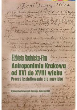 Antroponimia Krakowa od XVI do XVIII wieku