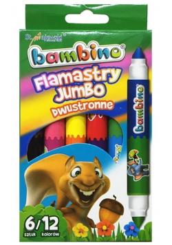 Flamastry dwustronne Jumbo 6/12 kolorów BAMBINO