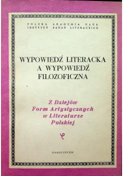 Wypowiedź literacka a wypowiedź filozoficzna