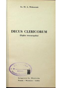 Decus Clericorum Etyka towarzyska