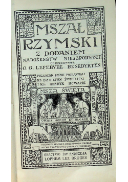 Mszał Rzymski z dodaniem Nabożeństw nieszpornych 1931 r
