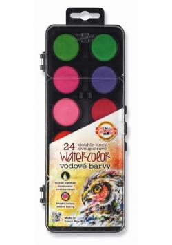 Farby akwarelowe transparentne 24 kolory czarn. op
