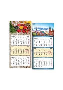 Kalendarz 2021 trójdzielny z płaską główką SB8 MIX