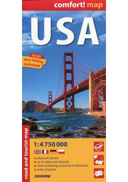 USA comfort map laminowana mapa samochodowo-turystyczna 1 4 750 000