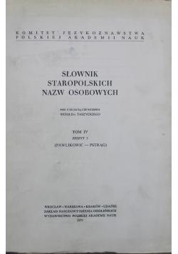 Słownik Staropolskich Nazw Osobowych Tom IV Zeszyt 2