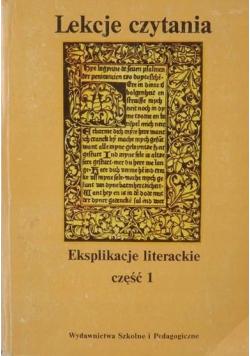 Lekcje czytania Eksplikacje literackie cz I