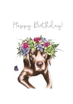 Karnet Swarovski kwadrat CL0326 Urodziny Pies