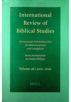 International review of Biblical Studies Volume 48