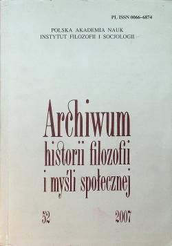 Archiwum historii filozofii i myśli społecznej Nr 52