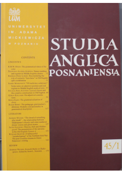 Studia Anglica Posnaniensia Nr 45 / 1