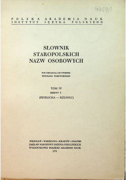Słownik Staropolskich Nazw Osobowych Tom IV Zeszyt 3