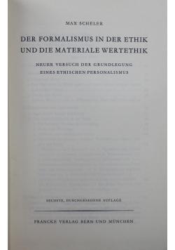 Der Formalismus in der ethik und die materiale