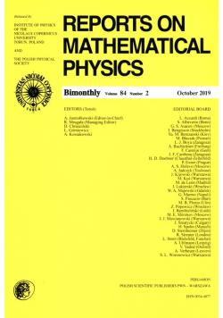 Reports on Mathematical Physics 84/2 Pergamon