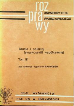 Studia z polskiej leksykografii współczesnej Tom III
