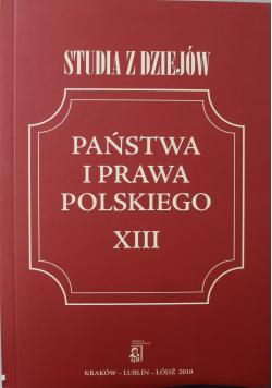 Studia z dziejów państwa i prawa polskiego XIII