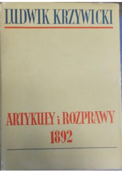 Artykuły i rozprawy 1892