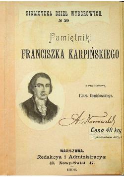 Pamiętniki Franciszka Karpińskiego 1898 r.