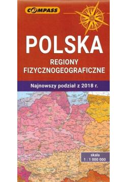 Mapa - Polska regiony fizycznogeograficzne