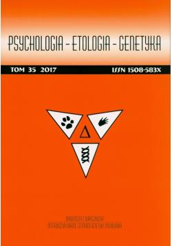 Psychologia etologia genetyka Tom 35 2017