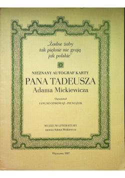 Nieznany autograf karty Pana Tadeusza Adama Mickiewicza