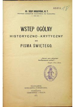 Wstęp ogólny historyczno krytyczny do Pisma Świętego 1915 r