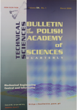 Bulletin of the Polish Academy of Sciences Technical Sciences Vol 54 No 1
