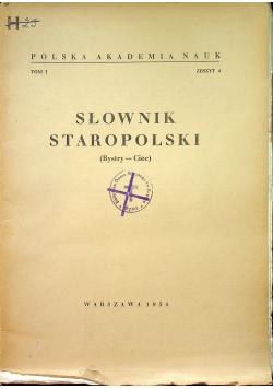 Słownik staropolski Tom I Zeszyt 4