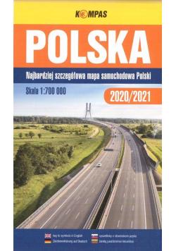 Mapa samochodowa 1:700 000 Polska TW KOMPAS