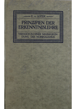 Prinzipien der Erkenntnislehre 1913 r.
