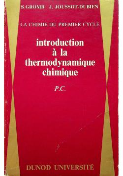 Introduction a la thermodynamique chimique