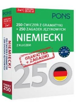 250 ćwiczeń 250 zagadek gramatyka Niemiecki 2 w 1