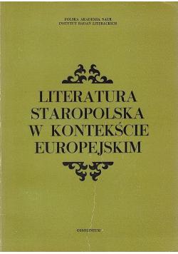 Literatura staropolska w kontekście europejskim