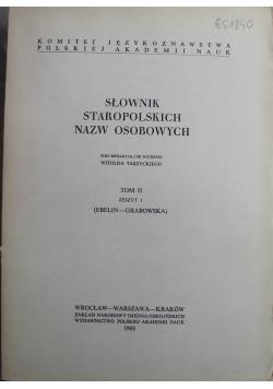 Słownik staropolskich nazw osobowych Tom II Zeszyt I