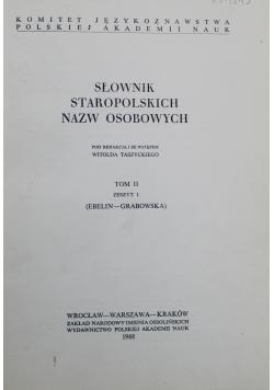 Słownik Staropolskich Nazw Osobowych Tom II Zeszyt 1