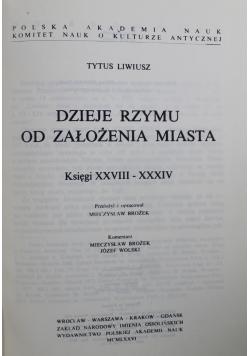 Dzieje Rzymu od założenia miasta Księgi XXVIII - XXXIV