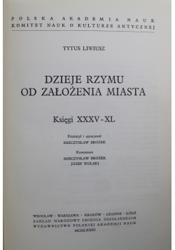 Dzieje Rzymu od założenia miasta Księgi XXXV i XL