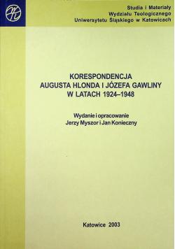 Korespondencja Augusta Hlonda i Józefa Gawliny w latach 1924 1948