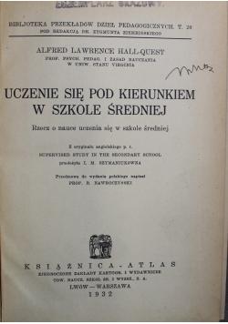 Uczenie się pod kierunkiem w szkole średniej 1932 r.