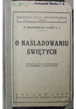 O naśladowaniu świętych 1928 r.