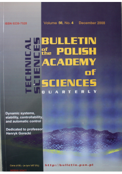 Bulletin of the polish academy of sciences volume 56 no 4
