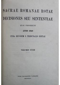 Sacrae Romanae Rotae Decisiones Seu Sententiae Tom XXXII 1940 r.