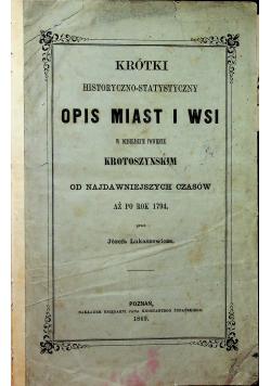 Krótki historyczno statystyczny opis miast i wsi 1869 r.