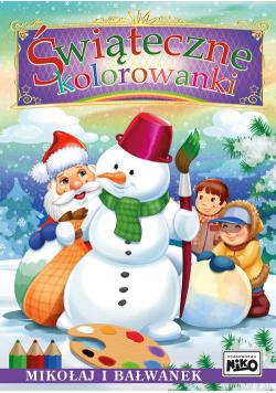 Świąteczne kolorowanki Mikołaj i bałwanek