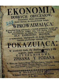 Ekonomia dobrych obyczaiow 1777 r.