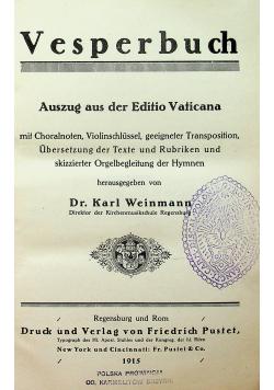 Vesperbuch Auszug aus der Editio Vaticana 915 r.