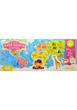 Puzzle Mapa świata Zwierzęta figurki