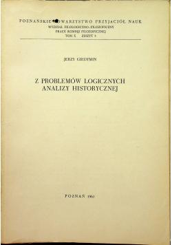 Z problemów logicznych analizy historycznej