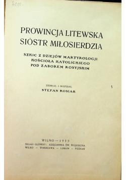 Prowincja Litewska Sióstr Miłosierdzia 1933 r