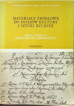 Materiały źródłowe do dziejów kultury i sztuki tom III