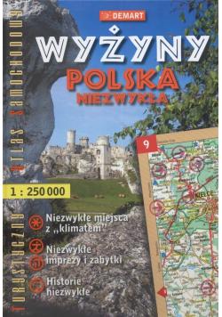 Wyżyny Polska niezwykła Turystyczny atlas samochodowy